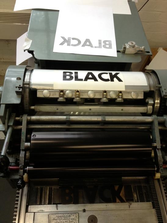 Black backwards type
