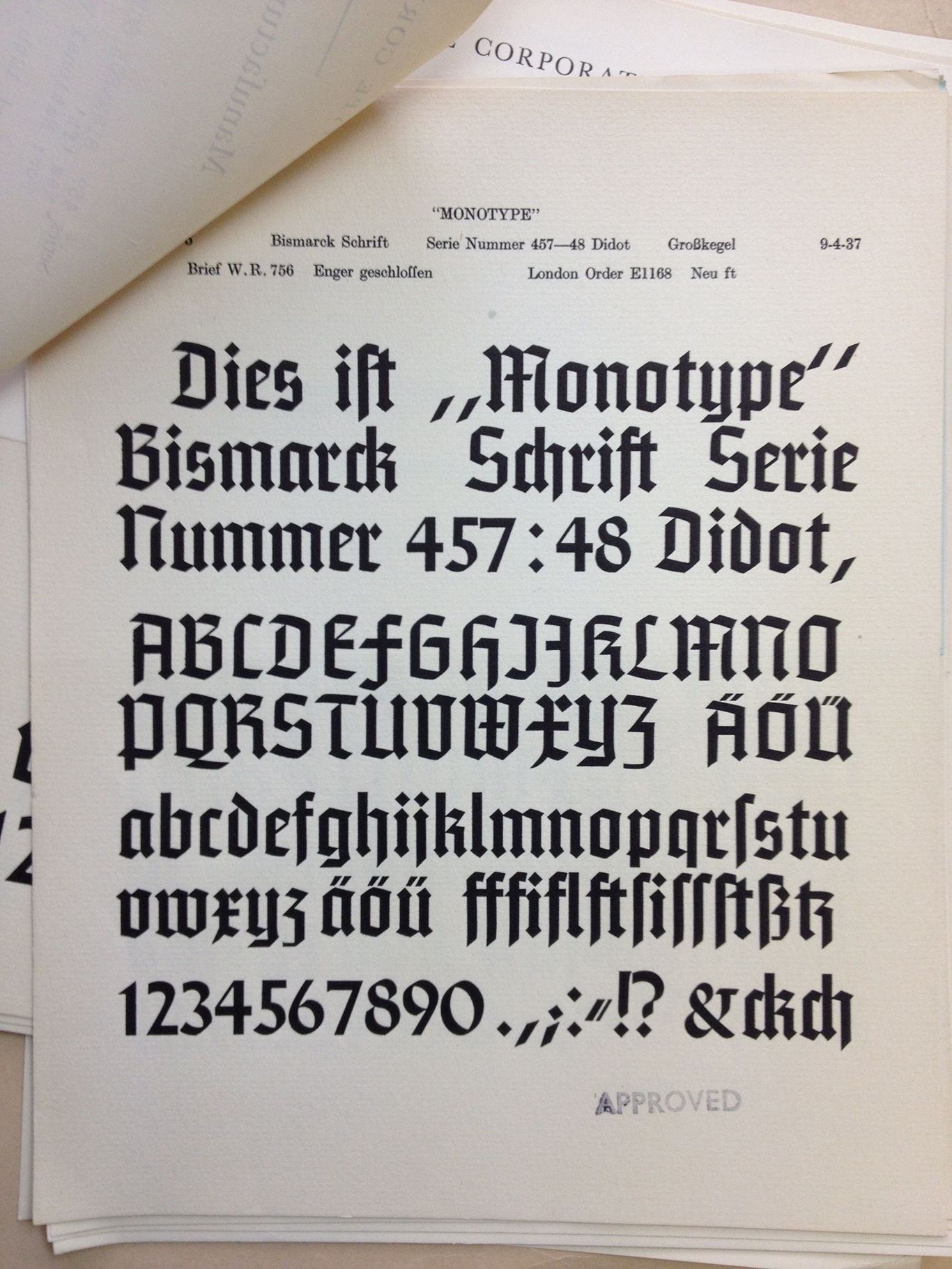 From Looking Through The Notes On Bismarck It Becomes Clear That Monotype Was Hoping This Type Would Be Appealing To English Readers And Or Clients